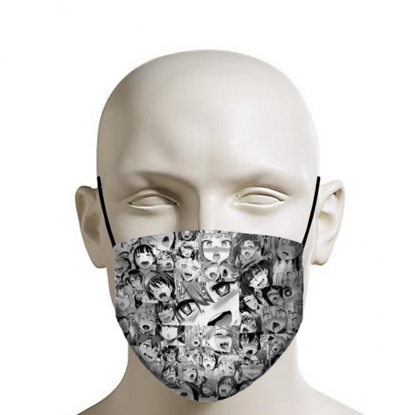 Ahegao Face Mask - Manga Girl Faces Mixed